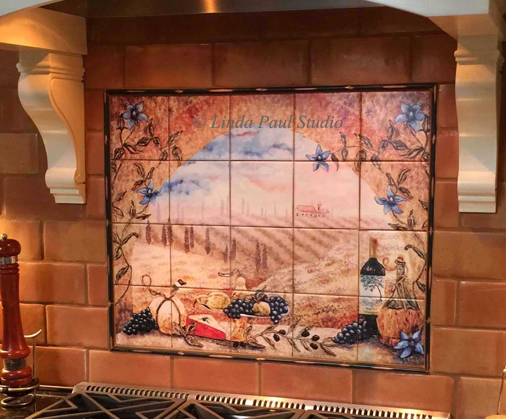 kitchen tile mural italian tile murals tuscany backsplash tiles 3268