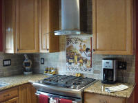 Tuscan kitchen back splash with travertine subway tile