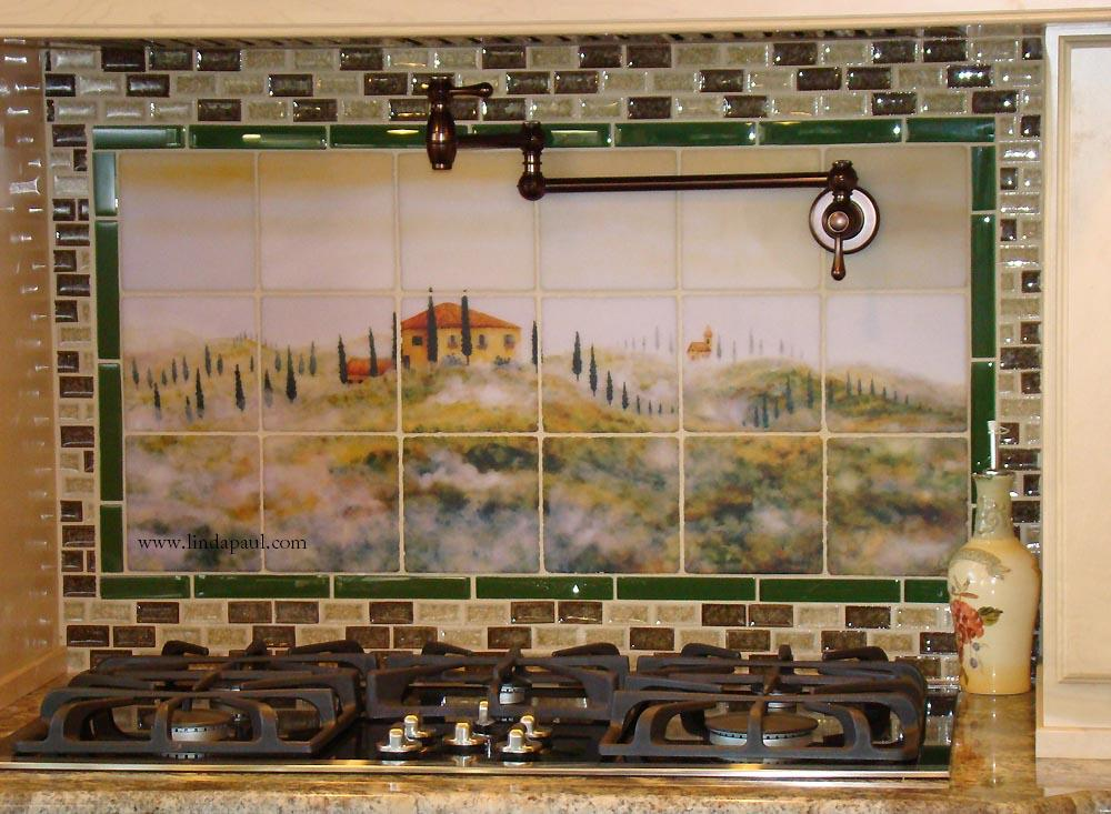 Tusncay_in_the_mist_backsplash_mural_green_gl_border_moscaic_tile Center Border Kitchen Backsplash Ideas With on living room ideas with borders, bathroom with borders, kitchen tile backsplash with borders, landscaping ideas with borders, backsplashes with borders,