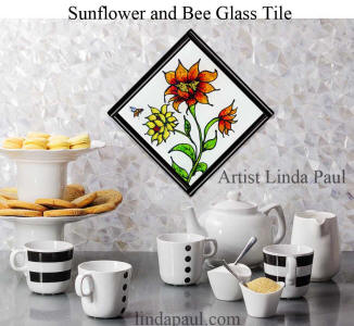 sunflower bee glass tile in black and white coffee bar
