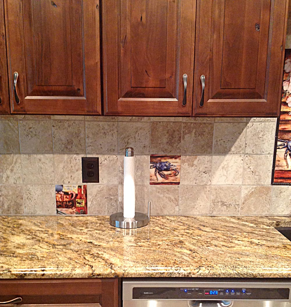 Cajun Kitchen Backsplash Installed Blue Crab And Gumbo Tile Accents