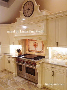 french country kitchen with Color me italian mural