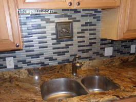 crayfish metal tile in fishing camp backsplash