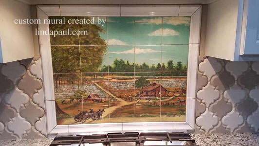 Louisiana farm painting tile mural custom