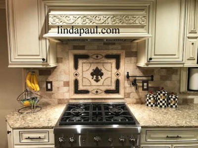 fleur de lis backsplash medallionmosaic installed