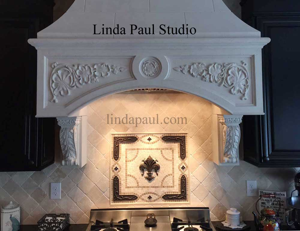 Fleur de Lis Backsplash Tile Mosaic Medallion - Mosaics Art ...