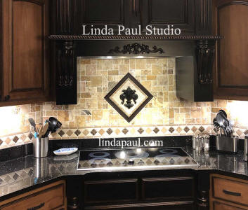 installation picture of fleur de lis medallion