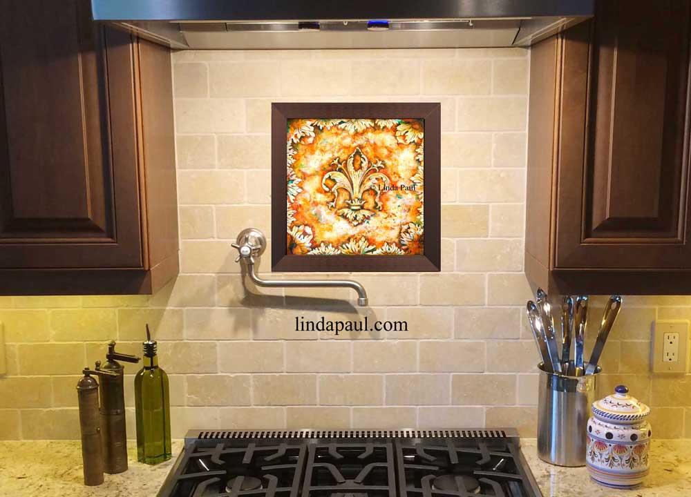 Fleur De Lis Tile Wall Art Decorative Ceramic