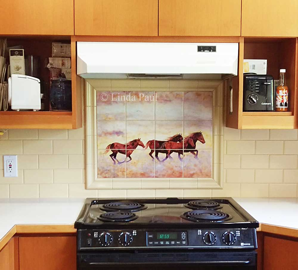 Horse murals kitchen tile backsplashes of horses horses tiles running horses tile mural dailygadgetfo Image collections