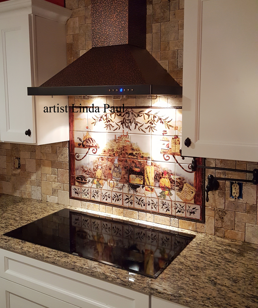Custom tile mural from photo of sunset