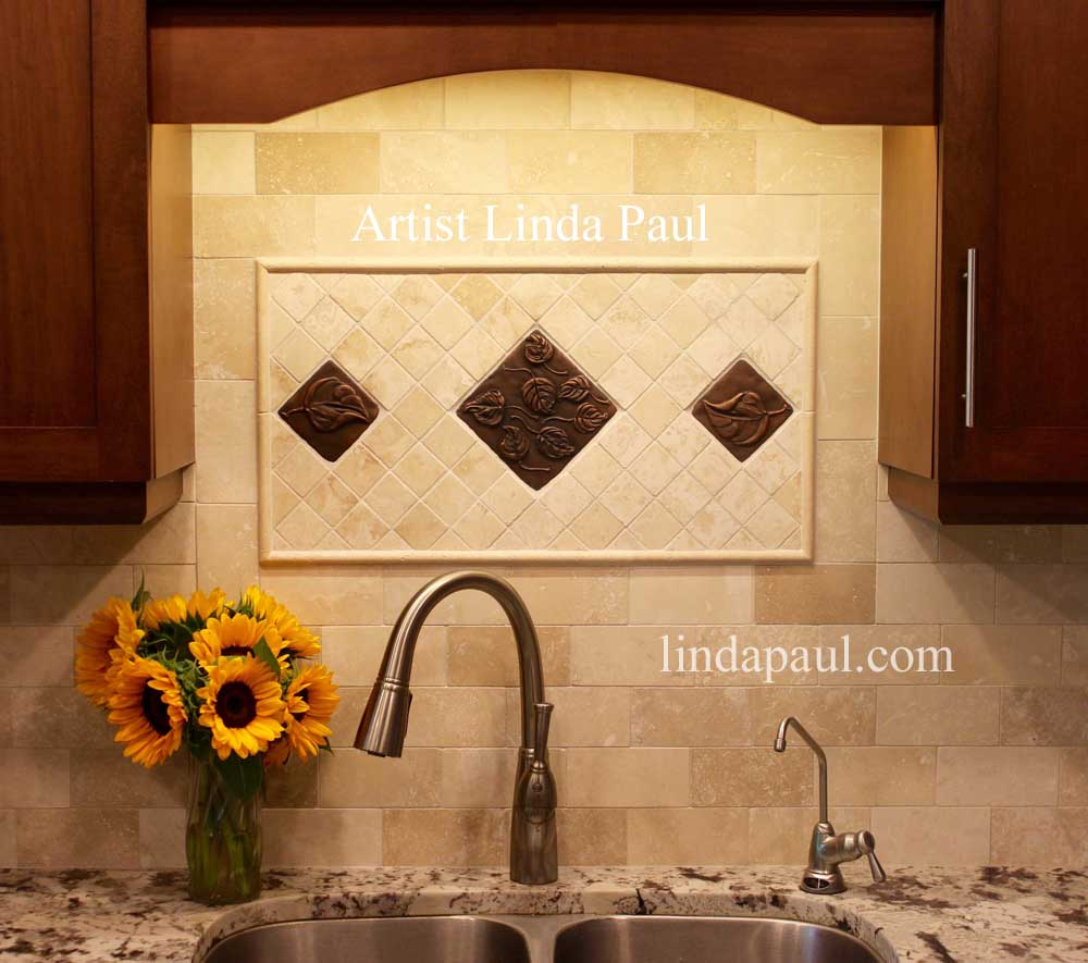 - Falling Leaves Backsplash Medallion And Leaf Tile Accents