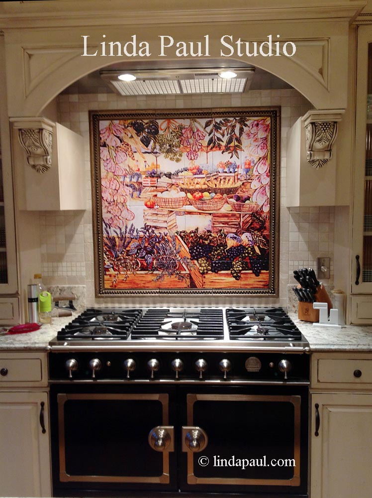 Market Day Kitchen Backsplash Tiles Retro Kitchen Linda Paul Murals