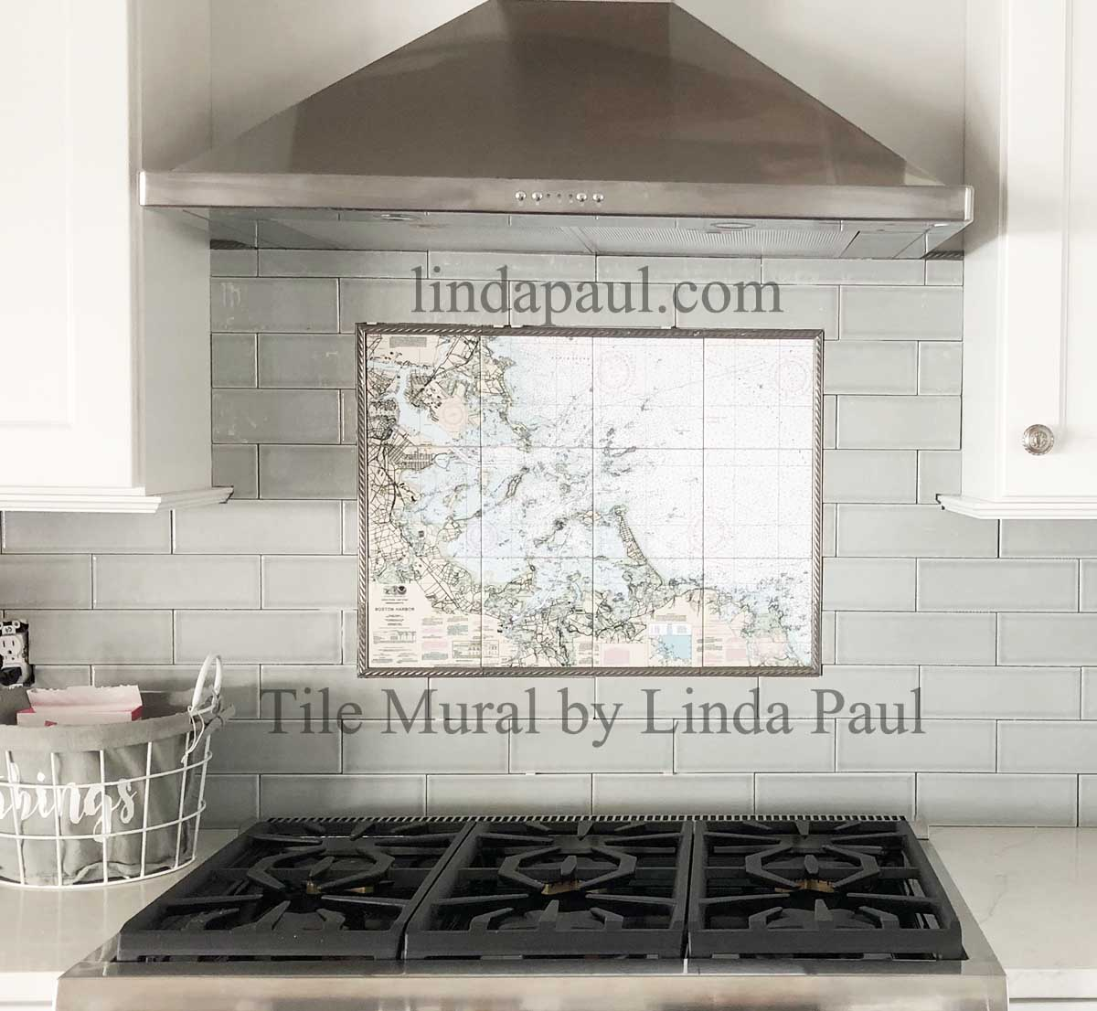 Custom tile mural of map