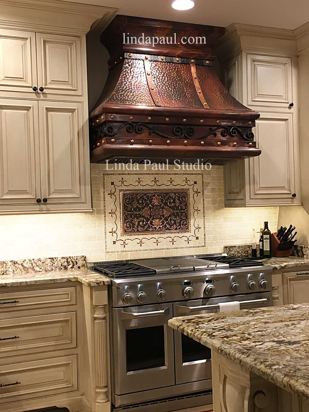 ravenna medallion backsplash with copper hood granite stone backsplash
