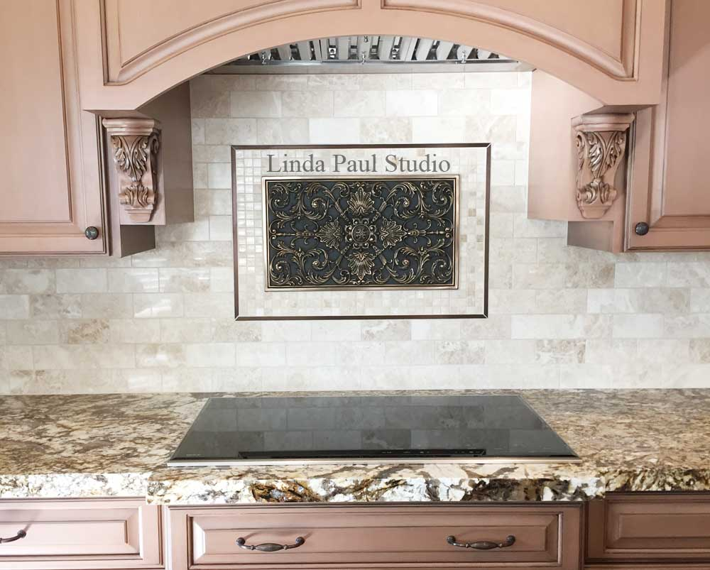 kitchen backsplash metal medallions kitchen backsplash plaques ravenna decorative tile medallion 2224