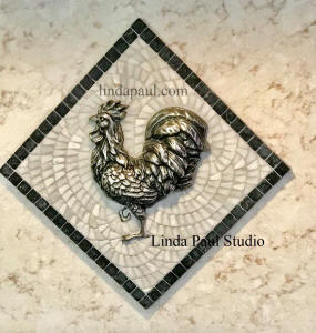 rooster medallion glued on marble