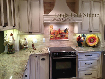 roosters and sunflowers kitchen back splash in french country kitchen