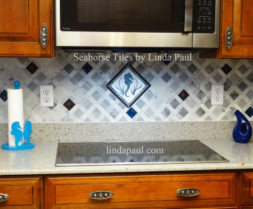 seahorse kitchen decor and backsplash