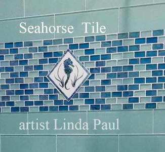 seahorse ceramic tile in shower