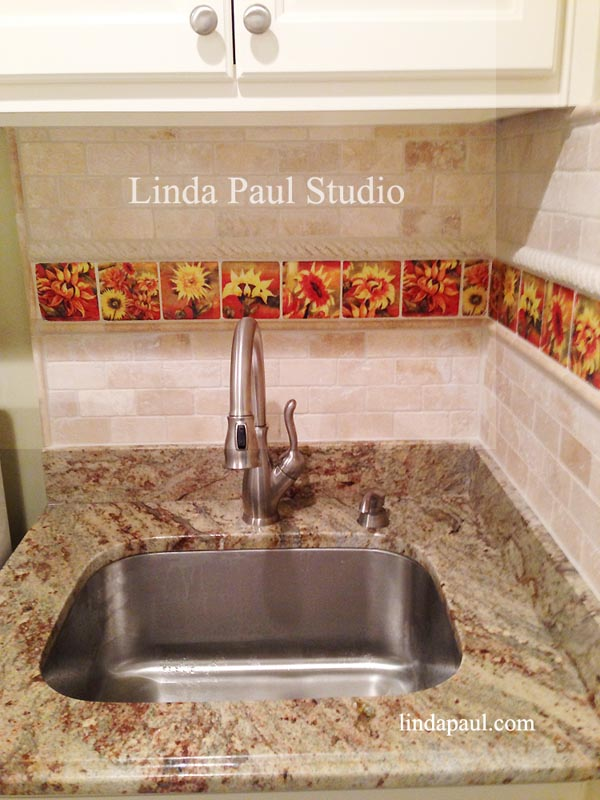 Rooster Kitchen Decor Backsplash With Sunflowers Tile