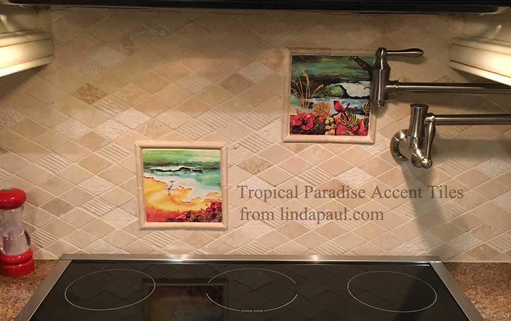 Tropical Tile Mural Backsplash Tiles