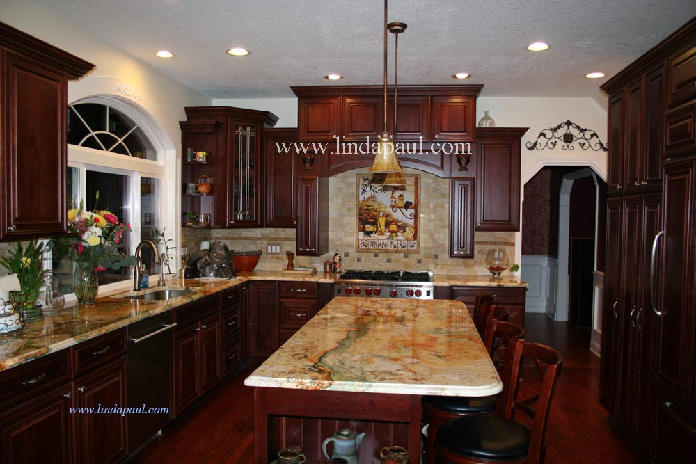Tuscan backsplash tile murals tuscany design kitchen tiles - Cherry wood kitchen ideas ...