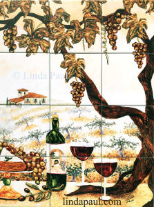 vertical vineyard tile mural