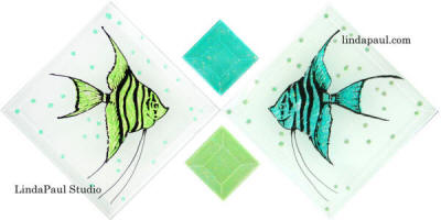 fish tiles sea glass
