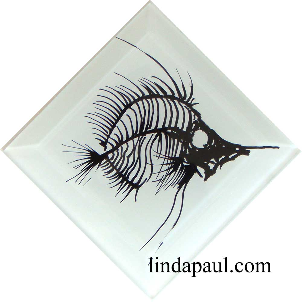 White And Black Fish Fossil Tile