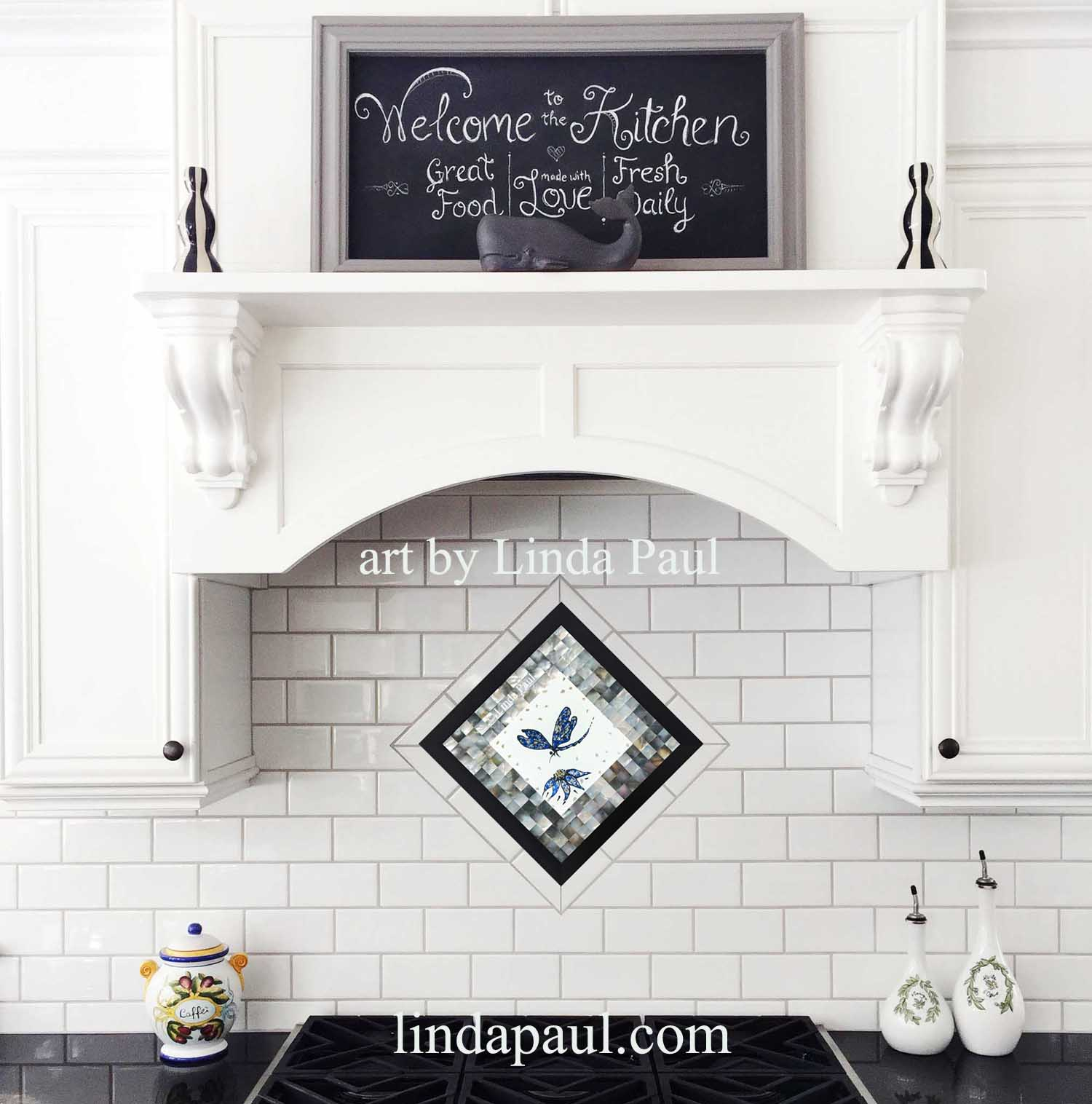 Dragonfly Blue Silver and White Glass Tile and Black Mother of Pearl Mosaic  backsplash medallion framed