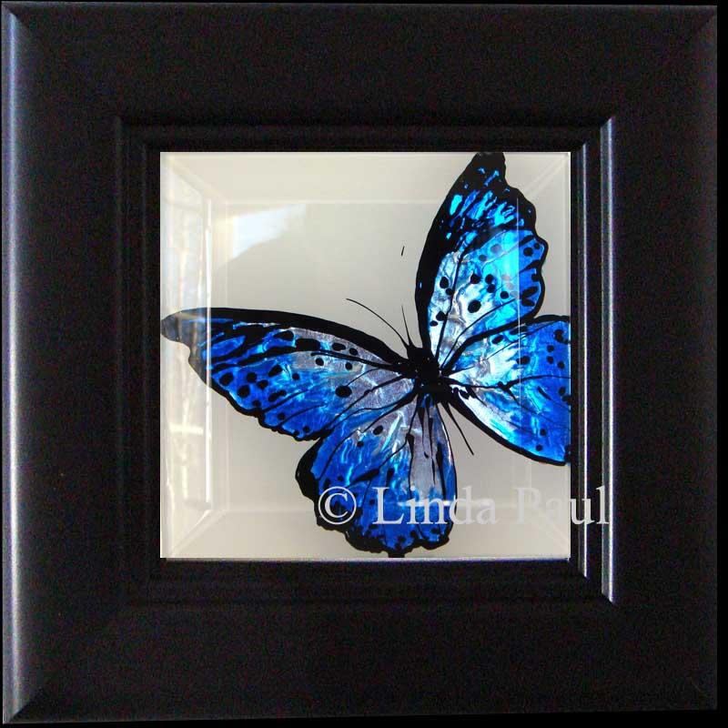 Framed Erflies Blue Cobalt And White Erfly Art