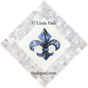 blue and silver with white mother of pearl fleur de lis