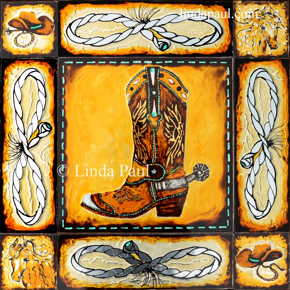 Horse glass tile contemporary cowboy decor for A mural is painted on a