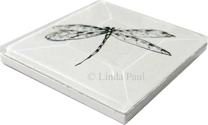 Dragonfly Art Glass Tiles Of Dragonflies - Clear glass tiles 4x4