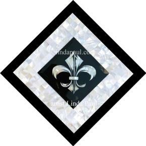 mother of pearl fleur de lis medallion