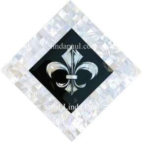 fleur de lis and mother of pearl mosaic