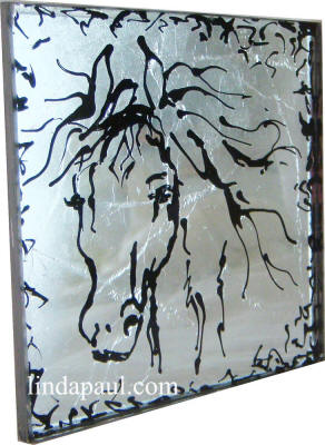black and silver horse head glass tile