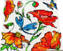 hand painted tile of poppies and dragonfly