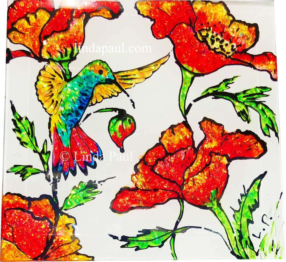 hand painted decorative tiles.htm hand painted glass tile backsplash mural of hummingbird  poppies  hand painted glass tile backsplash