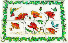 hand painted hummingbird tile mural backsplash art