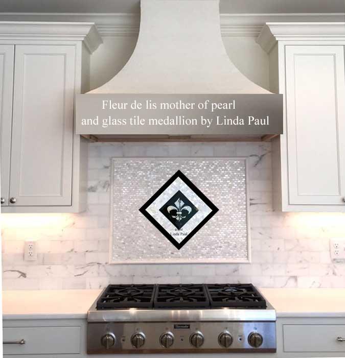 Fleur De Lis Tile Medallion Backsplash Blue And White Mother Of Pearl Mosaic Tiles