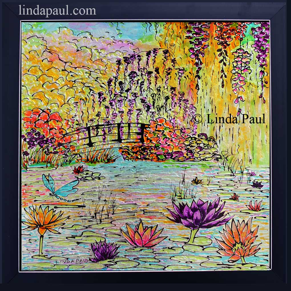 Monet Painting By Of Water Lilies And Garden Framed Original