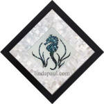 seahorse mother of pearl mosaic backsplash