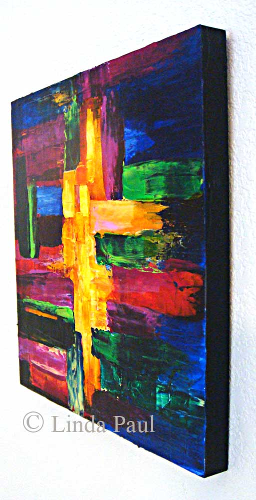 Colorblock Original Abstract Painting By Artist Linda Paul