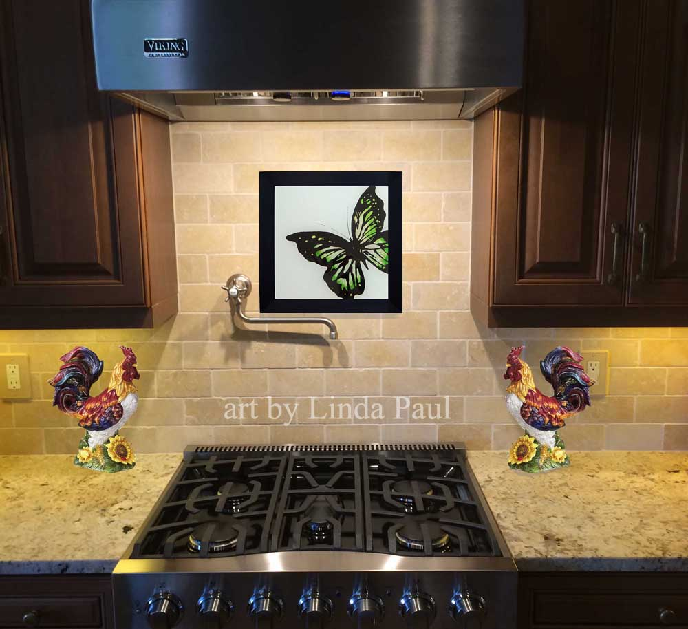 White Subway Tile Backsplash >> Butterfly Art Paintings - Glass Tiles of Butterflies