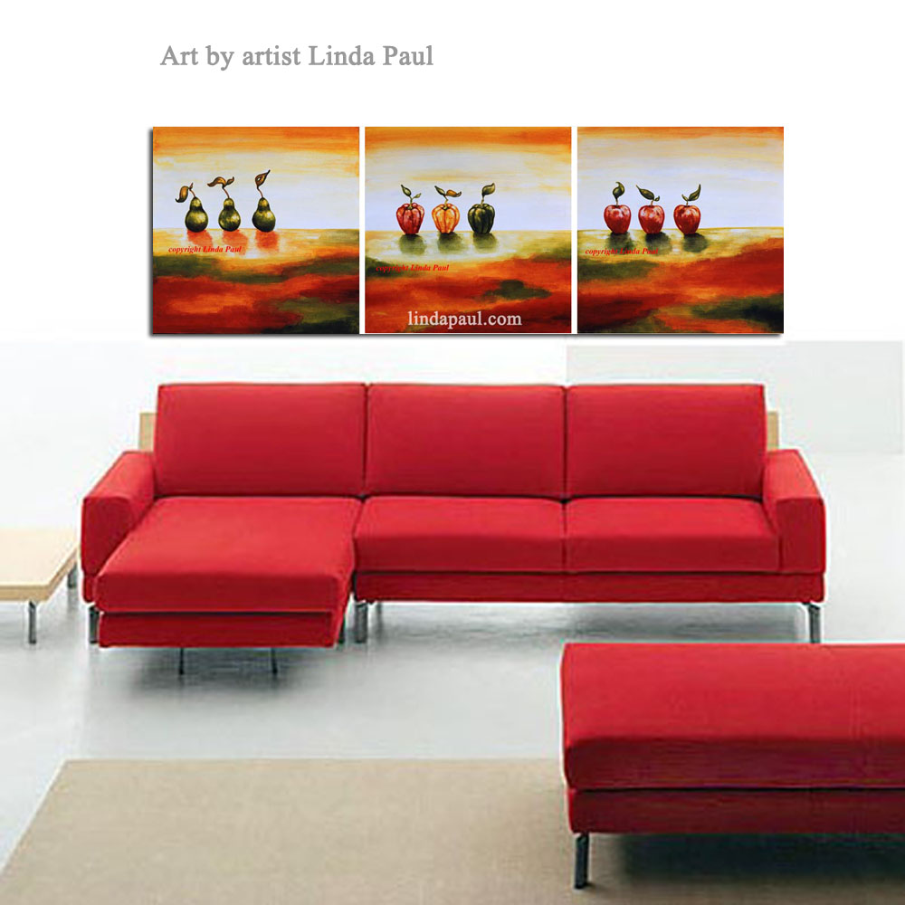 Set of 3 Contemporary Art Paintings - Pears, Peppers and Apples by artist  Linda Paul