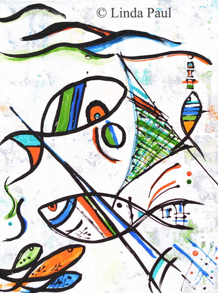 Fishing with Picasso Abstract Modern Fish Art Painting