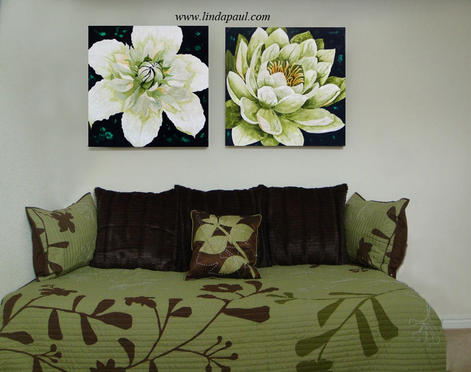 Brilliant Lotus And Clematis Green And White Large Flower Original Paintings Andrewgaddart Wooden Chair Designs For Living Room Andrewgaddartcom