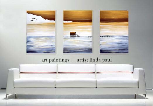 Contemporary Paintings Over White Sofa