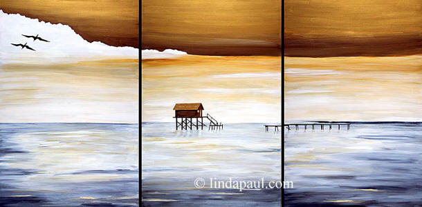 set of 3 ocean paintings